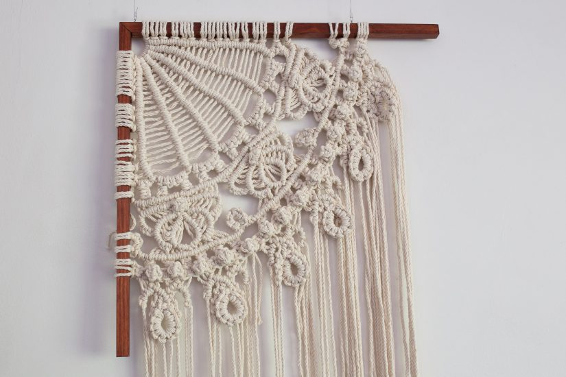 Iron lacework recreated in cotton macrame knotwork.